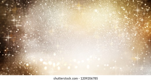 Sparkling golden bokeh background with silver christmas stars
