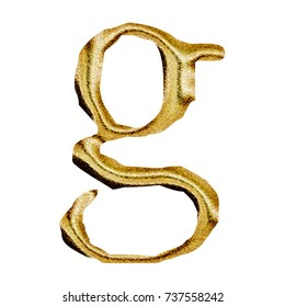 Sparkling golden style lowercase or small letter G in a 3D illustration with a rich gold color and sparkly glittery metallic textured jagged font isolated on a white background with clipping path.