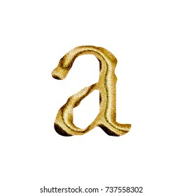Sparkling golden style lowercase or small letter A in a 3D illustration with a rich gold color and sparkly glittery metallic textured jagged font isolated on a white background with clipping path.