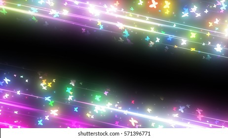 sparkling graphic particles and shiny lines. 3d illustration, 3d rendering