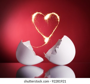 Sparkling heart of the broken eggs hatched. Symbol valentines.