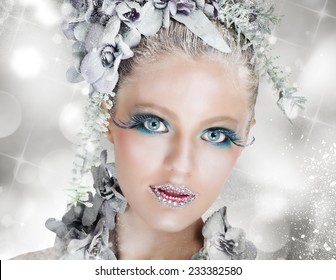 Sparkling makeup fairy snow with icy flowers