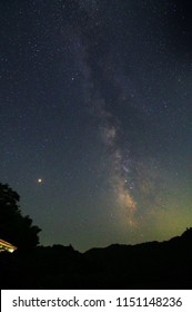 Sparkling Mars and the Milky Way, on August 4, 2018, at the Hirasawa Dam in Mobara City, Chiba Prefecture, Japan.