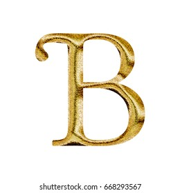 Sparkling metallic gold uppercase or capital letter B in a 3D illustration with a shiny golden yellow metal sparkle surface in a libertine font style isolated on a white background with clipping path.