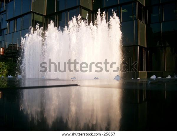 A sparkling modern fountain