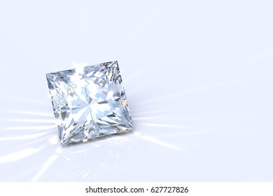 Sparkling princess cut diamond with caustics on white background.  Close-up view. 3D rendering illustration