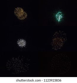 Sparkling round fireball charges exploding in pitch black sky of 4th of July celebration night