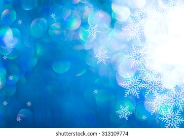sparkling snowy winter background with copy space.