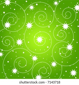 Sparkling stars and spiral pattern on green background
