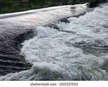 The sparkling turbulent water of the river Vrbas, rapid water movement, power of nature