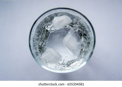 sparkling water glass from top