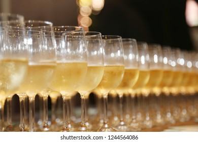 Sparkling wine glasses full side view