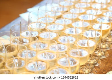 Sparkling wine glasses overhead view