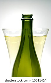 Sparkling wine isolated against a black and white background