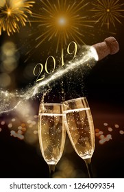 Sparkling wine on New Year's Eve, New Year 2019