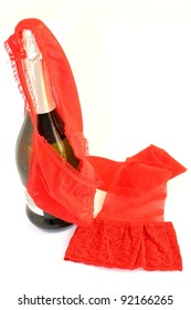 sparkling wine and red lingerie