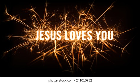 Sparkly glowing title card for Jesus Loves You on dark background.