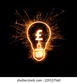 Sparkly light bulb and British pound sign representing bright idea in finance-related concept.