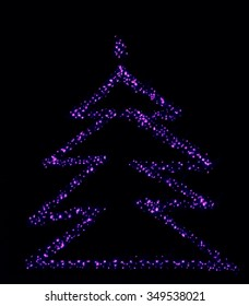 Sparkly Purple Abstract Christmas Tree Your Text Here Illustration Background