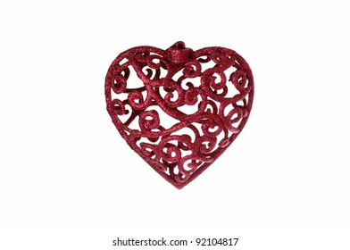 Sparkly Red Heart Christmas Decoration