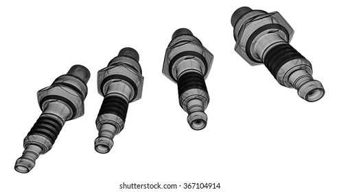 Sparkplugs, body structure, wire model on background