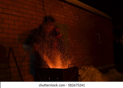 Sparks from the barbecue