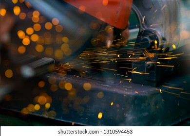 Sparks from a circular saw.