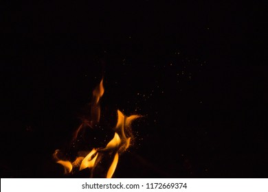 sparks of fire on a black background at night
