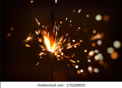 Sparks of Firecracker in night