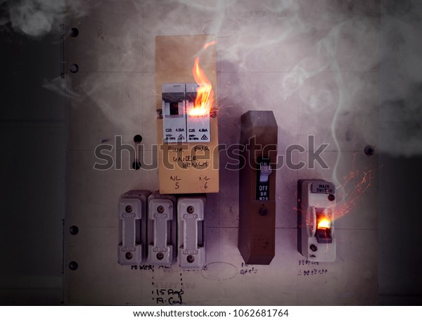 Sparks Flames Smoke Burning Overloaded Circuit Stock Photo (Edit Now)  1062681764  Shutterstock