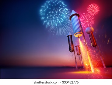 Sparks flying from a firework rockets lit fuse. 3D illustration