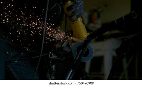 Sparks formed by industrial tool/angle grinder