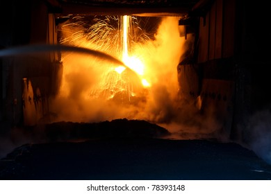 sparks from a high furnace in the ironmaking plant