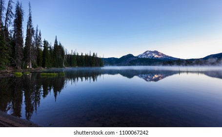 SPARKS LAKE, OREGON, USA - JULY 14, 2009: South Sister mountain, a volcano in the Cascades Range, central Oregon.