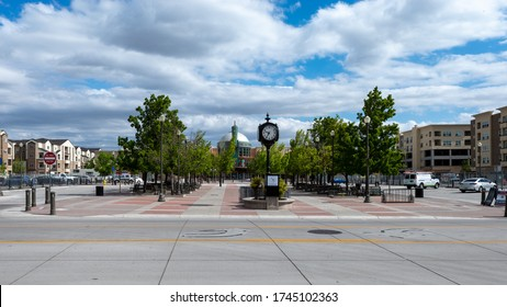 Sparks, Nevada / USA - May 30, 2020: Plaza on Victorian Avenue in Victorian Square with residential housing, a theatre, commercial development and a parking area where many special events are held.
