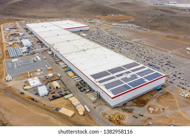 SPARKS, NV, USA - MARCH 15, 2019: Aerial drone photo of the Tesla Gigafactory Nevada manufacturer of electric cars
