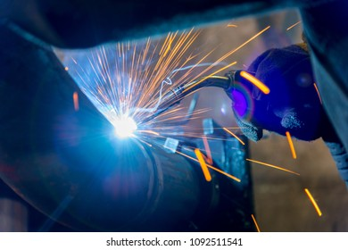 Sparks of the welding