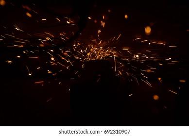 Sparks of welding