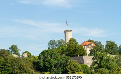 Sparrenburg Castle, the historic signature landmark in the center of the German city of Bielefeld, at the tip of the Teutoburger Wald mountain range.