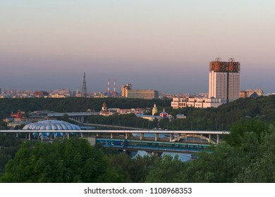 """Sparrow hills/ Vorobyovy Gory, Moscow, Russia - June 2nd 2018 - View to Luzhniki Metro Bridge, Building of Russian Academy of Sciences, sports hall """"Druzhba"""". editorial."""