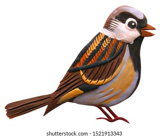 Sparrow ordinary, urban, molded from plasticine, for children's books, cards, interior
