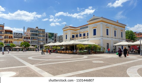 SPARTA, GREECE - MAY 26: The centre of the city with the town hall on May 26, 2018 in Sparta. Modern day Sparta capital of Laconia prefecture, has been built upon the site of ancient Sparta.