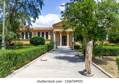 SPARTA, GREECE - MAY 27: The Archaeological Museum of Sparta on May 27, 2018. Archaeological Museum of Sparta neoclassical building was constructed between 1874 and 1876 in the center of the city.