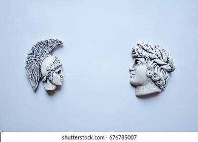 Spartan and Macedon confronted figurines: Alexander The Great and Spartan Warrior