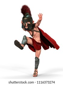 spartan warrior cartoon in a white background 3d illustration