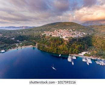Spartochori port harbour in Meganisi Island near Lefkada Greece