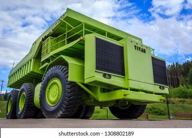 "Sparwood, British Columbia/Canada - 06 03 2017: Terex 33-19 ""Titan"" haul truck in Sparwood"