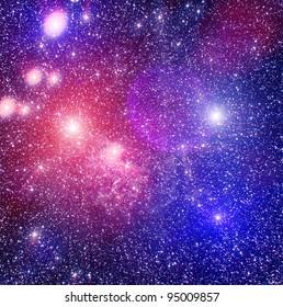 Spase nebula and colored stars