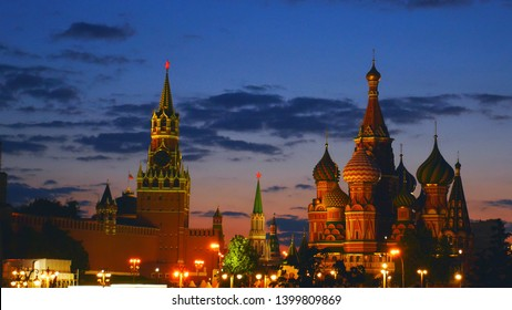 Spaskaya tower of the Kremlin and cathedral Basil Blessed to have Red square Moscow. Russia. Night, Red Square, City.