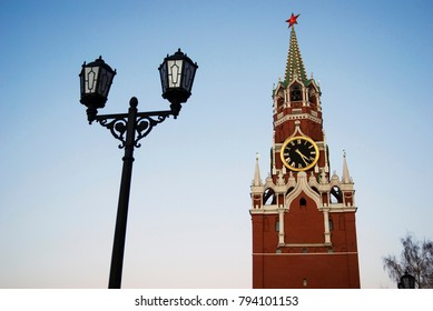 Spasskaya (Saviors) clock tower of Moscow Kremlin. Popular touristic landmark. Color photo